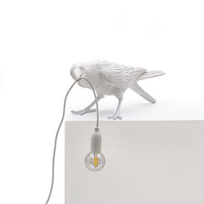 Lampe de table Bird Playing / Corbeau joueur - Seletti blanc en matière plastique