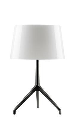 Luminaire - Lampes de table - Lampe de table Lumière XXS / H 40 cm - Foscarini - Blanc / Pied noir chromé - Aluminium verni, Verre soufflé