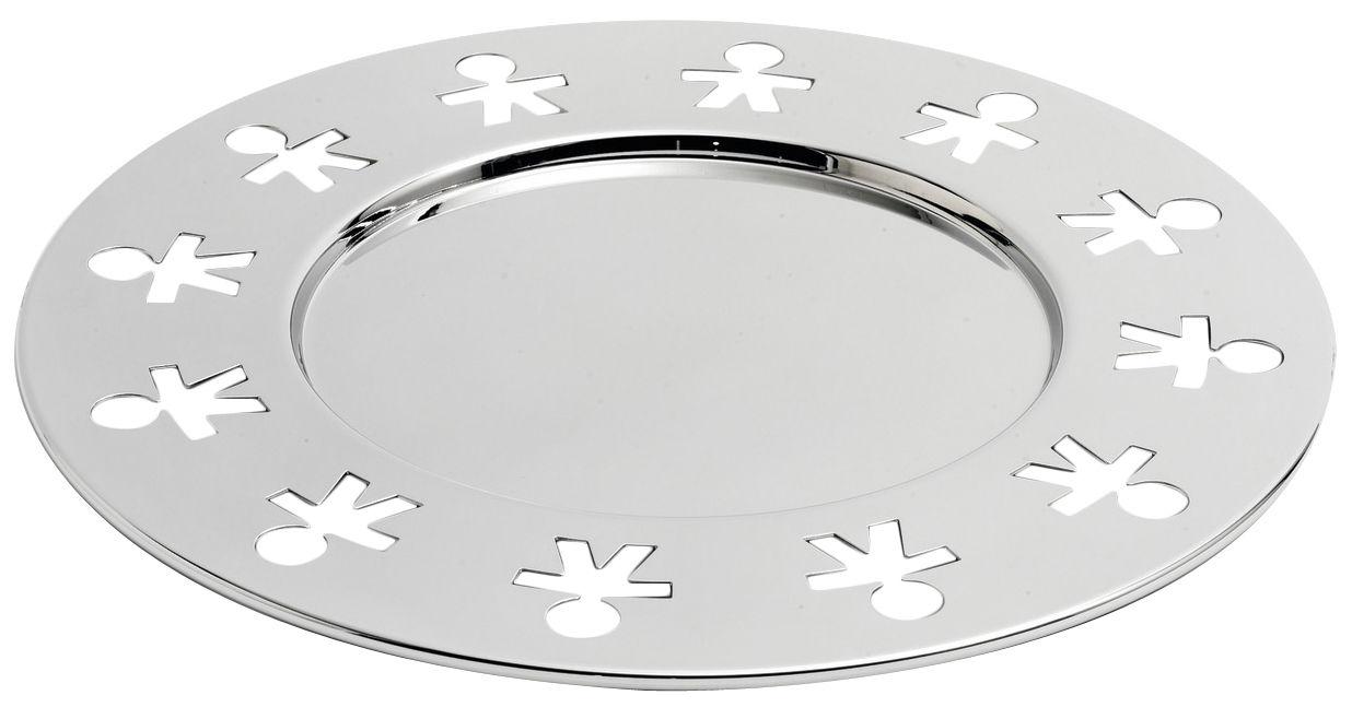 Arts de la table - Plateaux - Plateau Girotondo / Ø 31,5 cm - A di Alessi - Acier poli - Acier inoxydable