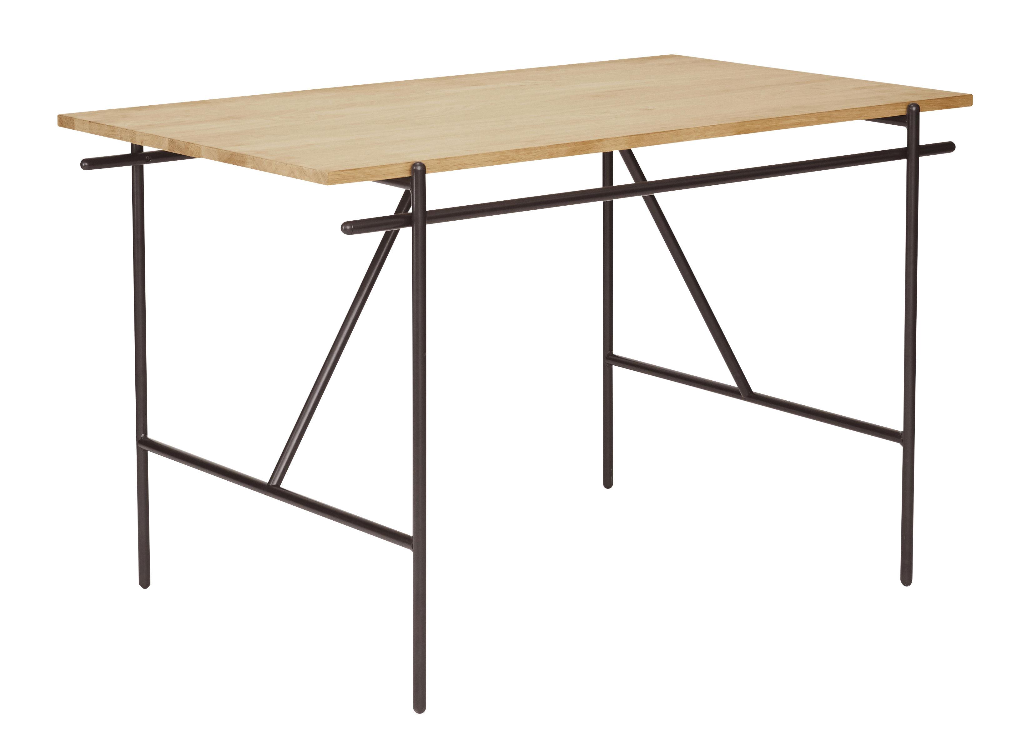Möbel - Büromöbel - WD-1 Schreibtisch / L 120 cm - Frama  - Eiche & schwarz - Acier laqué époxy, Chêne massif huilé