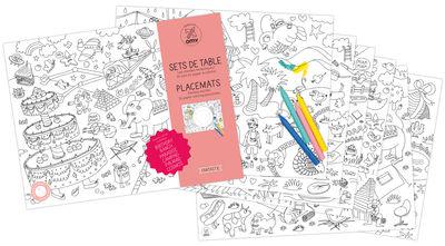 Set de table à colorier Fantastic / Lot de 24 - OMY Design & Play blanc,noir en papier