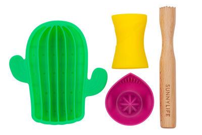 Set Mojito / 4 accessoires - Silicone & Bois - Sunnylife rose,jaune,vert,bois naturel en matière plastique