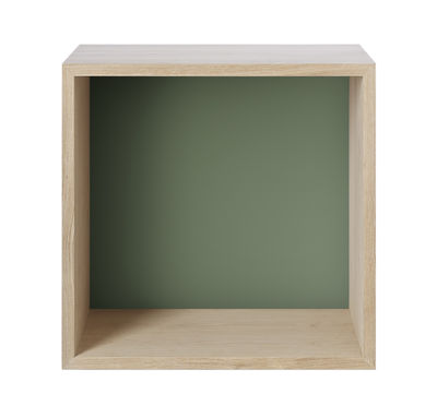 Furniture - Bookcases & Bookshelves - Mini Stacked Shelf - Medium/ with bottom by Muuto - Ash / Dusty green bottom - MDF with ash finish