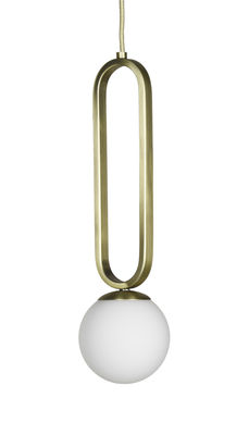 Illuminazione - Lampadari - Sospensione Cime Small - / Ø 12 x H 42 cm di ENOstudio - Ø 12 cm / Bianco & oro - Acciaio, vetro soffiato