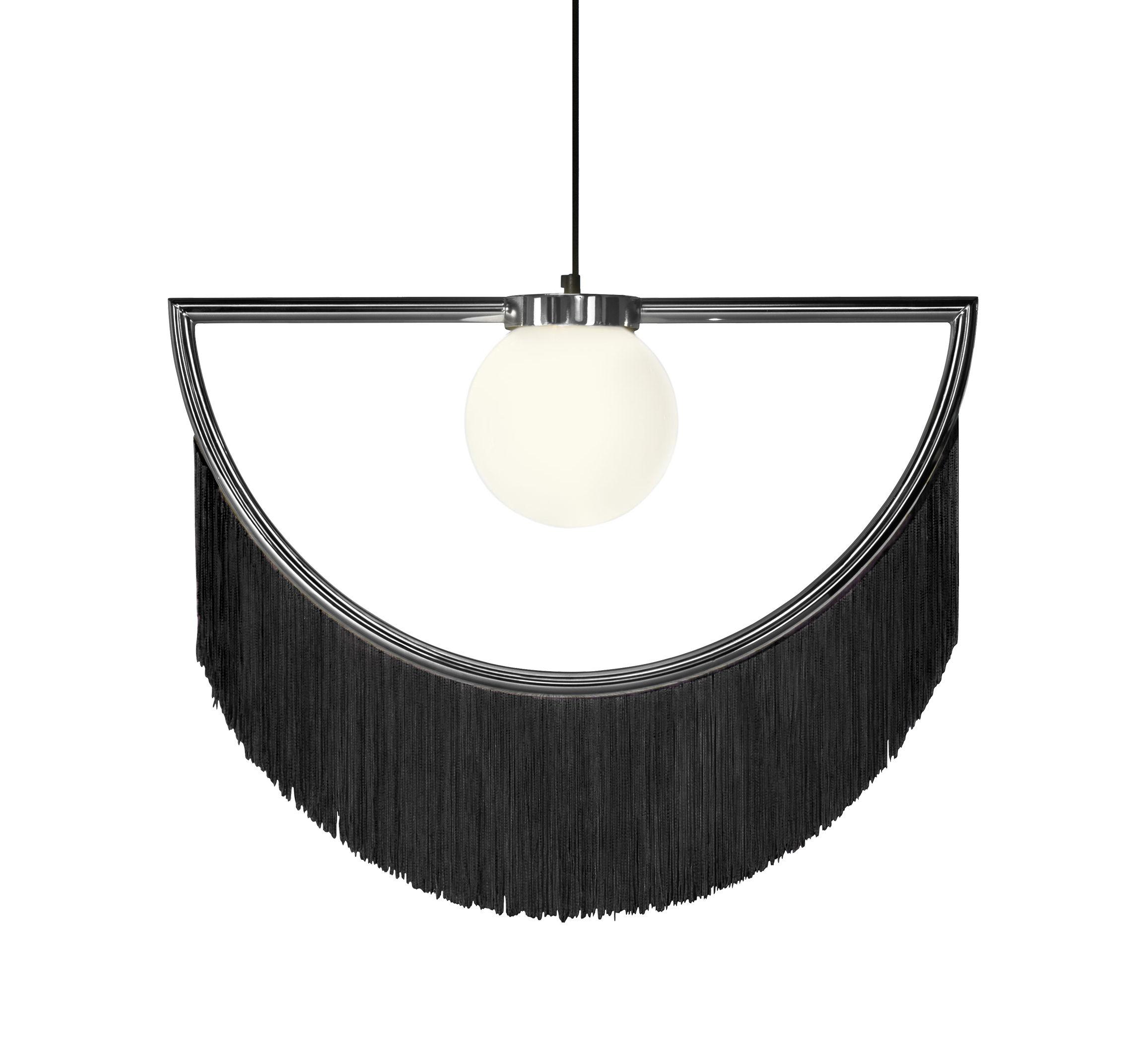 Illuminazione - Lampadari - Sospensione Wink - / Frange - L 60 x H 48 cm di Houtique - Noir / Argent - Acciaio, Acrilico, Vetro opalino