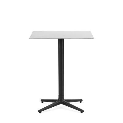 Outdoor - Garden Tables - Allez 4L OUTDOOR Square table - / 60 x 60 cm - Steel by Normann Copenhagen - Brushed steel (outdoor) - Brushed stainless steel, Cast iron