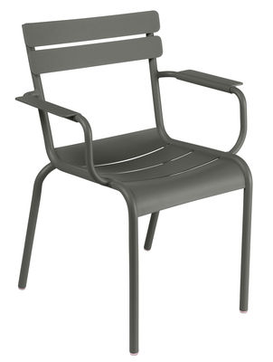 Furniture - Chairs - Luxembourg Stackable armchair - Metal by Fermob - Rosemary - Lacquered aluminium