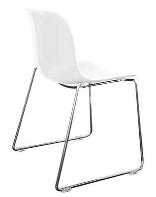 Möbel - Stühle  - Troy Stapelbarer Stuhl / Kunststoff & Stuhlbeine in Kufenform - Magis - Weiß  / Stuhlbeine chromglänzend - Polykarbonat, verchromter Stahl