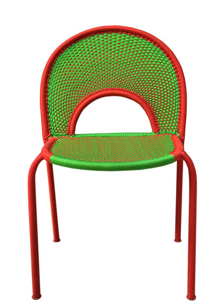 Möbel - Stühle  - M'Afrique - Banjooli Stuhl - Moroso - Grün / rot - Geflochtenes Polyethylen, lackierter Stahl