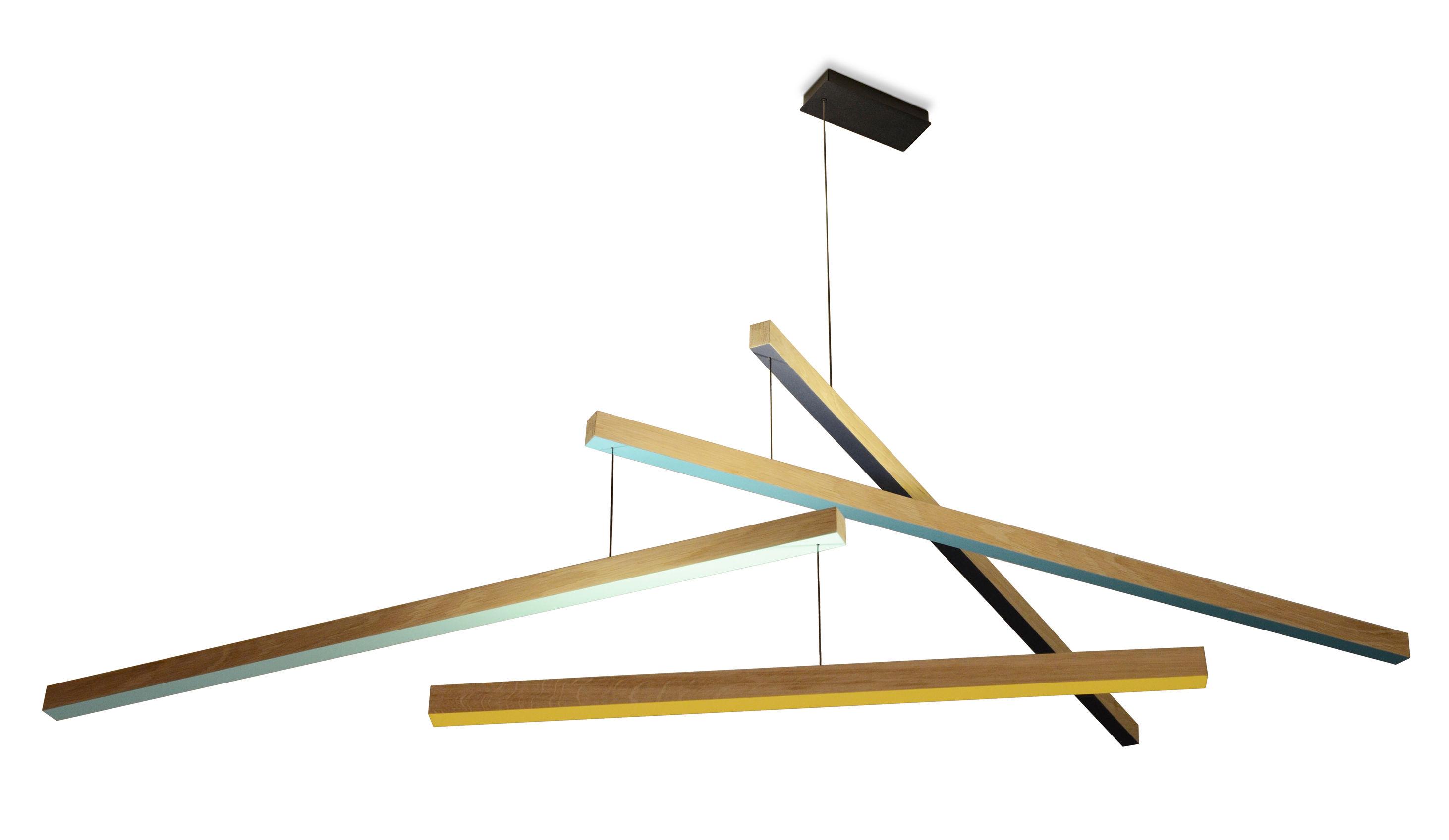 Luminaire - Suspensions - Suspension Tasso Thé LED / Chêne - L 155 cm - Presse citron - Jaune, vert, turquoise, Marine / Bois - Chêne massif