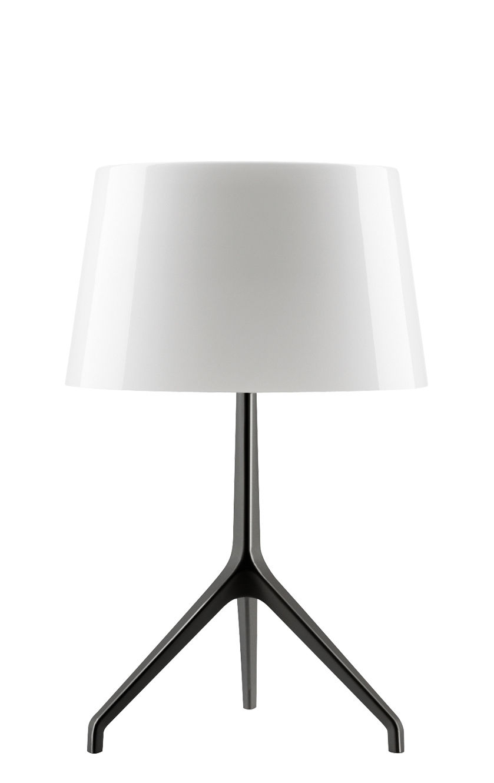 Leuchten - Tischleuchten - Lumière XXS Tischleuchte / H 40 cm - Foscarini - Weiß / Fuß chromschwarz - geblasenes Glas, klarlackbeschichtetes Aluminium