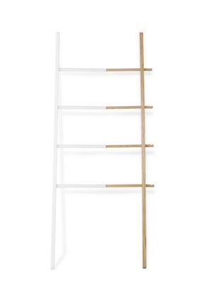 Furniture - Coat Racks & Pegs - Hub Valet - / Towel rail - Sliding - H 152 cm by Umbra - White / Beechwood - Natural beechwood, Painted steel