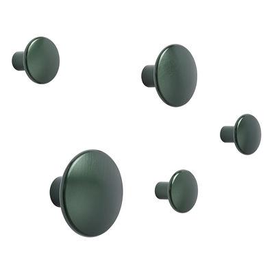 Arredamento - Appendiabiti  - Appendiabiti The Dots Métal - / Set di 5 di Muuto - Verde scuro - Acciaio