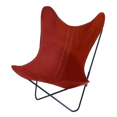 Furniture - Armchairs - AA Butterfly OUTDOOR Armchair - / Cotton - Black structure by AA-New Design - Terracotta - Outdoor treated cotton, Powder coated steel