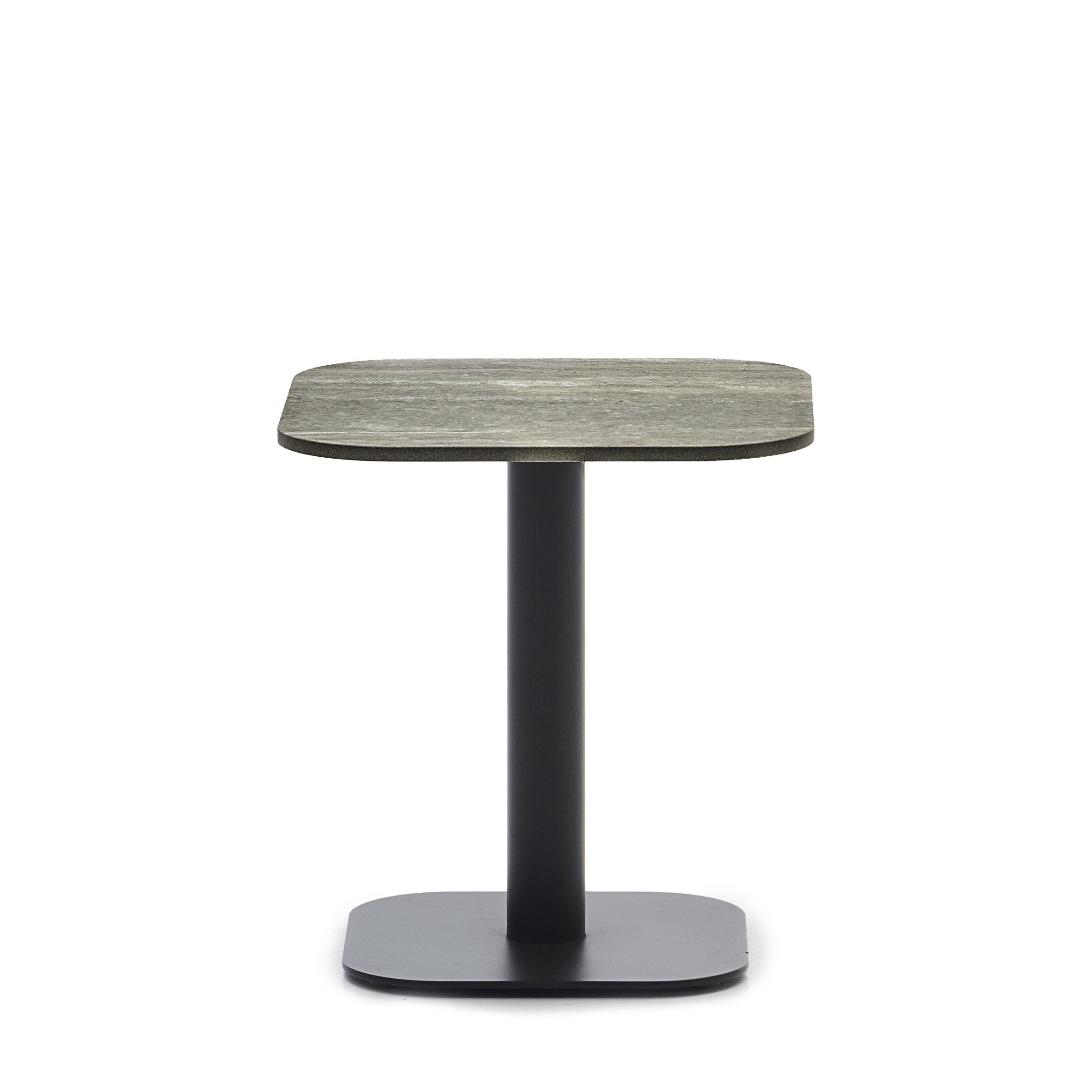 Möbel - Couchtische - Kodo Beistelltisch / 41 x 41 cm - Keramik - Vincent Sheppard - Keramik beige / Fossilgrau - Aluminium thermolaqué, Keramik