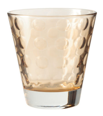 Image of Bicchiere da whisky Optic / H 9 x Ø 8,5 cm - 22 cl - Leonardo - Marrone - Vetro