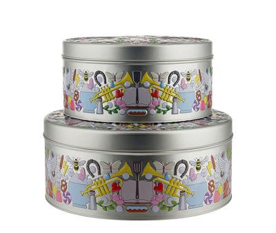 Cuisine - Boîtes, pots et bocaux - Boîte Garybaldi Tin / Set de 2 - Métal - Alessi - Multicolores - Fer blanc peint