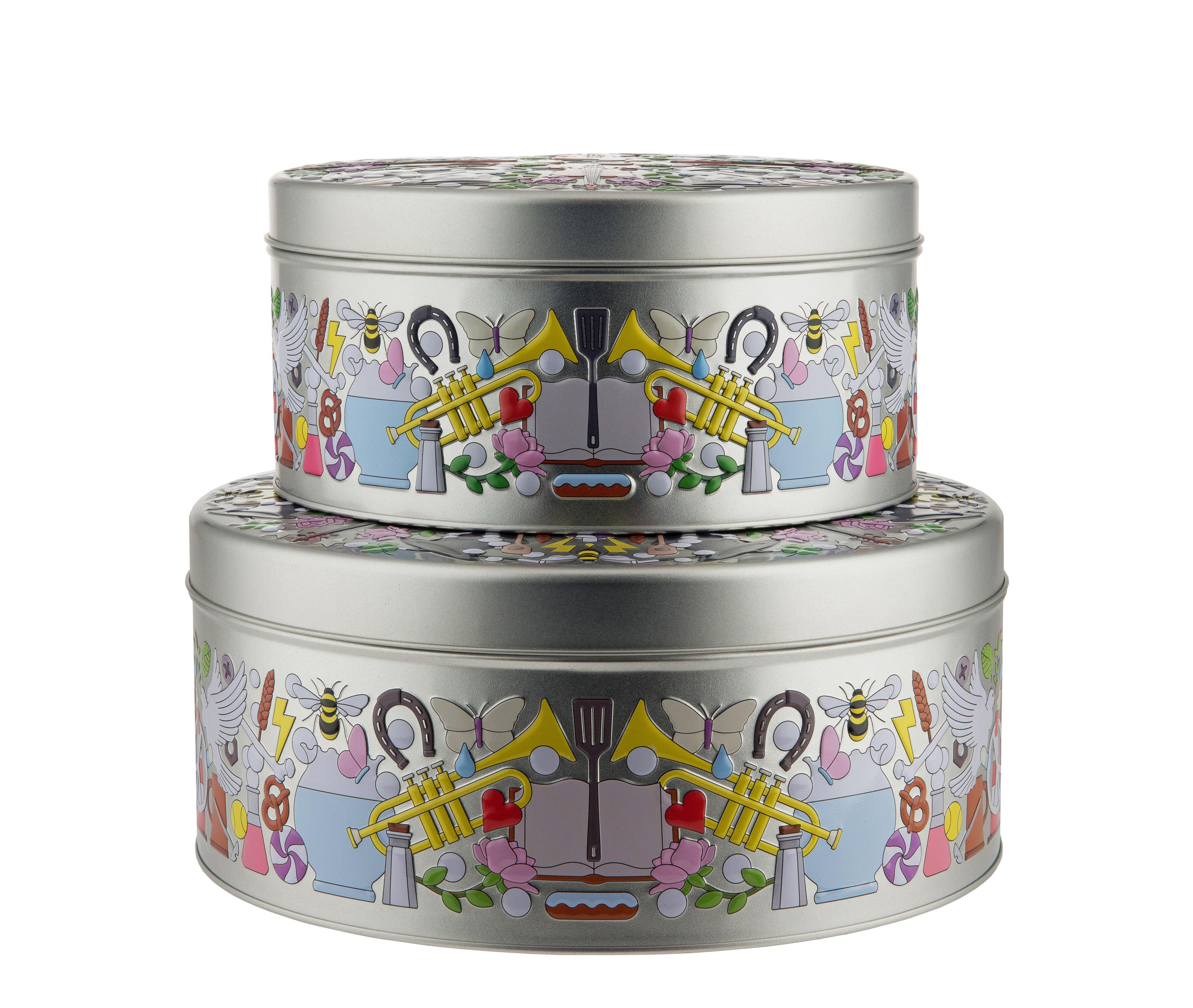 Kitchenware - Kitchen Storage Jars - Garybaldi Tin Box - / Set of 2 - Metal by Alessi - Multicoloured - Painted tinplate