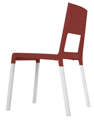 Chaise empilable Face Plastique pieds métal Kristalia rouge en matière plastique