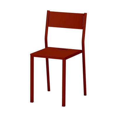 Mobilier - Chaises, fauteuils de salle à manger - Chaise empilable Take INDOOR / Acier - Matière Grise - Terracotta - Acier laqué époxy