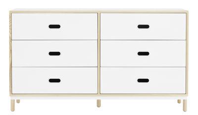 Commode Kabino 6 tiroirs / L 146 x H 83 cm - 6 tiroirs - Normann Copenhagen blanc/bois naturel en métal/bois