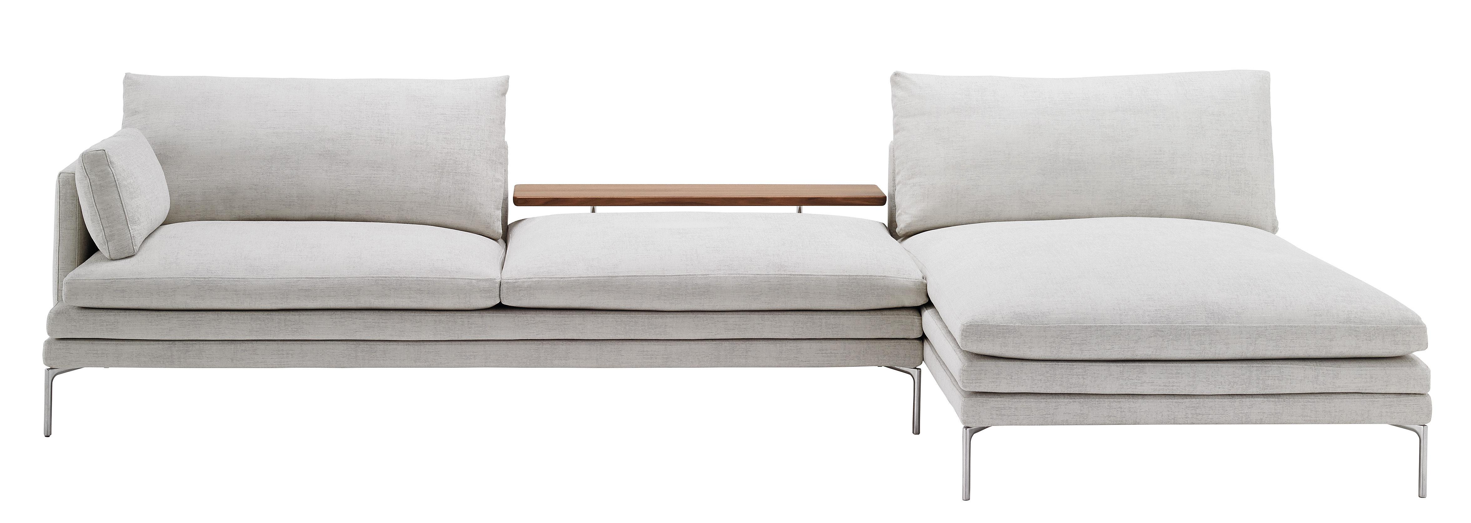 Furniture - Sofas - William Corner sofa - Fabric - L 328 cm - Right angle by Zanotta - Light grey / Walnut - Aluminium, Fabric, Polyurethane, Solid walnut, Steel
