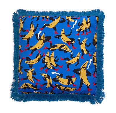 Interni - Cuscini  - Cuscino Flora & Fauna - Banana - / 66 x 66 cm di Sancal - Banana Guys / Blu - Microfibra, Poliestere