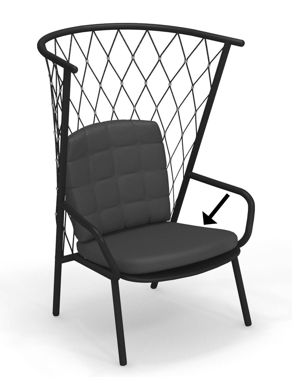 Furniture - Armchairs - Cushion - seat & backrest / For Nef low armchair by Emu - Dark grey - Acrylic fabric, Foam