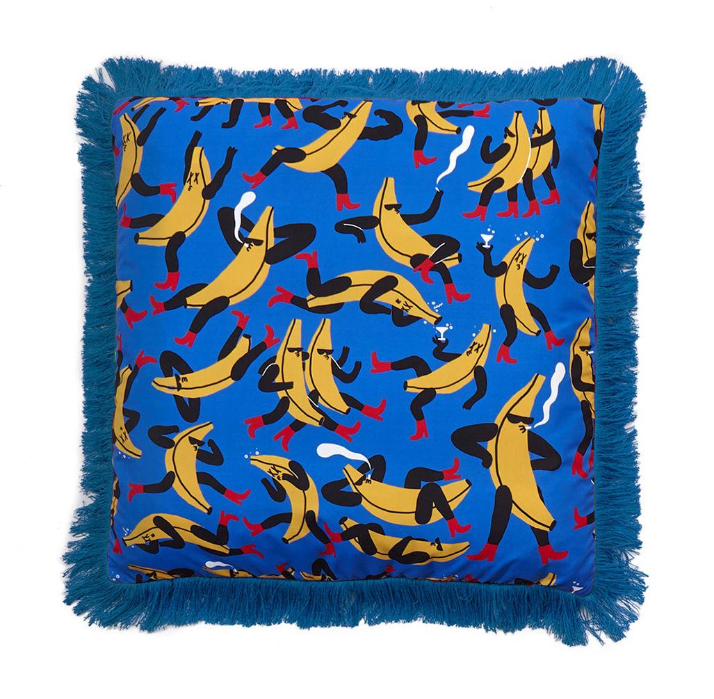 Decoration - Cushions & Poufs - Flora & Fauna - Banana Cushion - / 66 x 66 cm by Sancal - Banana Guys / Blue - Microfibre, Polyester