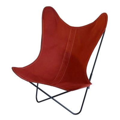 Mobilier - Fauteuils - Fauteuil AA Butterfly OUTDOOR / Coton - Structure noire - AA-New Design - Terre cuite - Acier thermolaqué, Coton traité pour l'extérieur