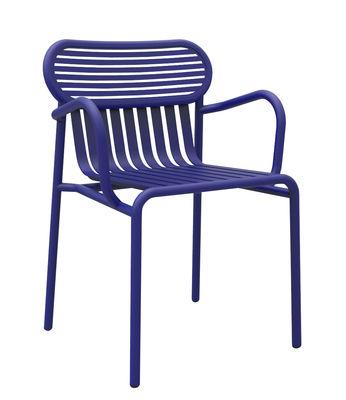 Mobilier - Chaises, fauteuils de salle à manger - Fauteuil bridge Week-end / Aluminium - Petite Friture - Bleu - Aluminium thermolaqué époxy