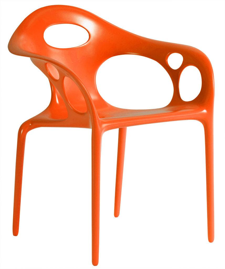 Mobilier - Chaises, fauteuils de salle à manger - Fauteuil empilable Supernatural / Plastique - Moroso - Orange - Fibre de verre, Polypropylène