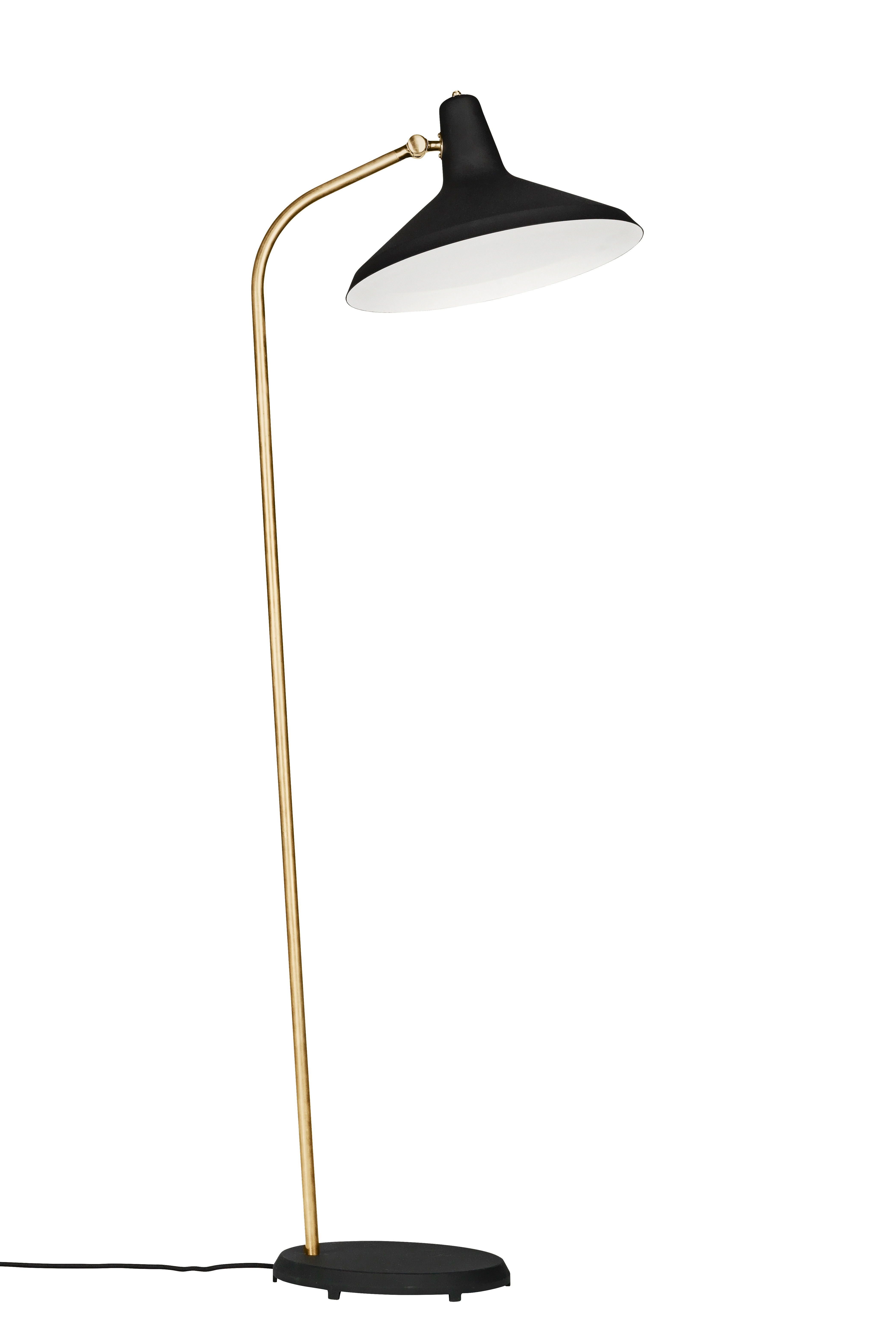 Lighting - Floor lamps - G10 Floor lamp - /Grossman - 1950 Reissue by Gubi - Black & Brass - Brass, Fabric, Glass, Metal