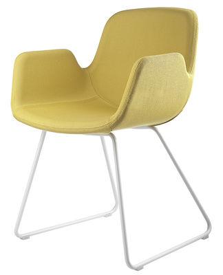 Möbel - Stühle  - Pass Gepolsterter Sessel / Kufengestell - Stoff - Lapalma - Sitzfläche mit gelbem Stoffbezug / Fußgestell weiß lackiert - Gewebe, rostfreier lackierter Stahl