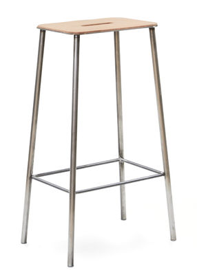Furniture - Bar Stools - Adam Cuir High stool - / H 76 cm by Frama  - H 76 cm / Beige leather & steel - Leather, Steel