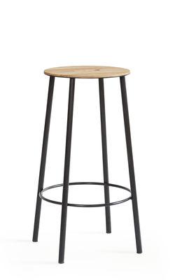 Furniture - Bar Stools - Adam R031 High stool - / H 65 cm by Frama  - Round / Oak & black - Epoxy lacquered steel, Oiled oak