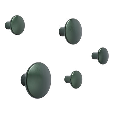 Furniture - Coat Racks & Pegs - The Dots Métal Hook - / Set of 5 by Muuto - Dark green - Steel