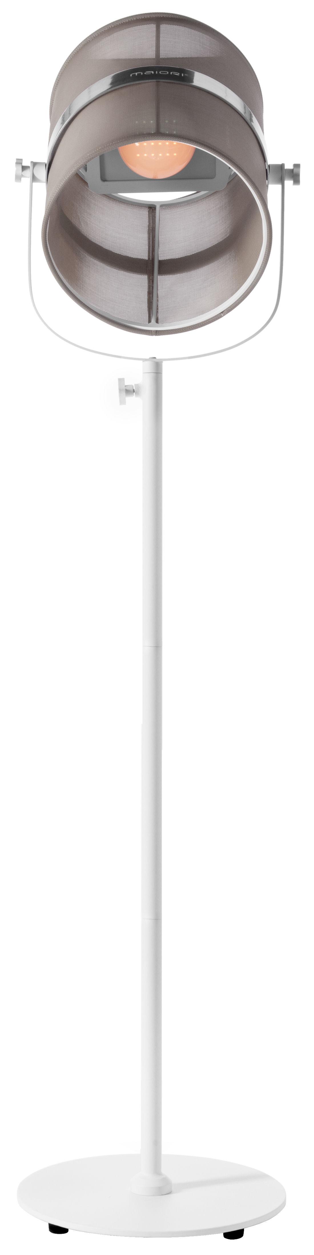Illuminazione - Lampade da terra - Lampada da terra solare La Lampe Paris LED - / Solare - Senza fili - Maiori - Taupe chiaro / Piede bianco - alluminio verniciato, Tessuto