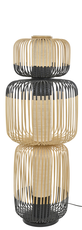 Illuminazione - Lampade da terra - Lampada a stelo Totem Bamboo Light - / 3 paralumi - H 118  cm di Forestier - H 118 cm / Nero & naturale - Bambù, Tessuto