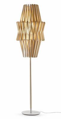 Luminaire - Lampadaires - Lampadaire Stick 04 / Abat-jour Ø 50 x H 97 cm - Fabbian - Bois clair - Bois Ayous, Métal verni