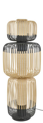 Luminaire - Lampadaires - Lampadaire Totem Bamboo Light / 3 abat-jours - H 118  cm - Forestier - H 118 cm / Noir & naturel - Bambou, Tissu