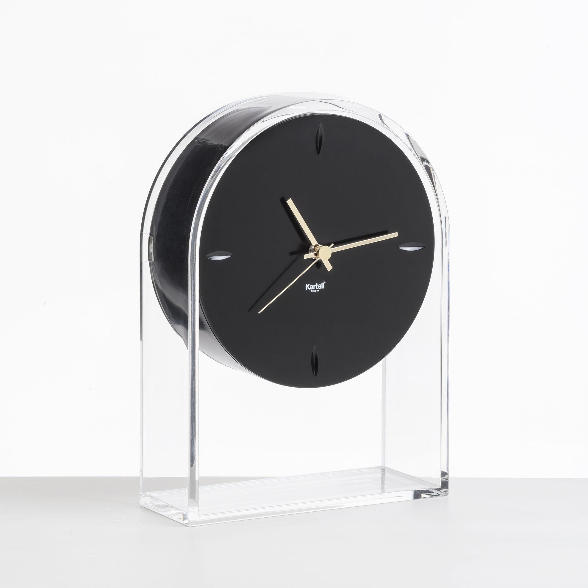 Interni - Orologi  - Orologio da posare L'Air du temps - / H 30 cm di Kartell - Nero / Cristallo - Technopolymère thermoplastique