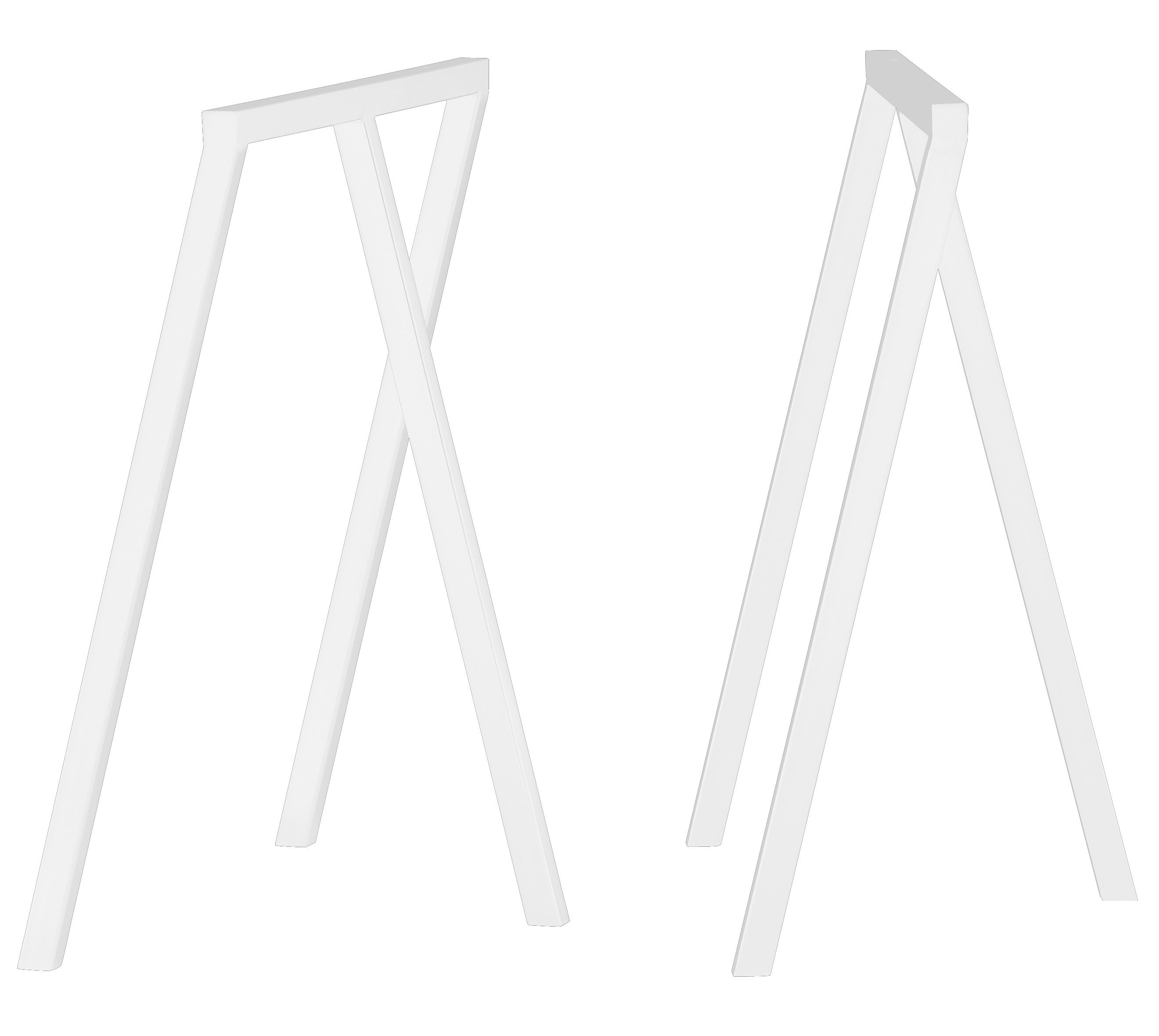 Furniture - Office Furniture - Loop Pair of trestles - Set of 2 by Hay - White - Lacquered steel