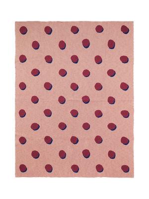 Arredamento - Mobili per bambini - Plaid per bambini Pois - Effet 3D - / 120 x 160 cm di Ferm Living - Rosa / Pois rossi - Cotone