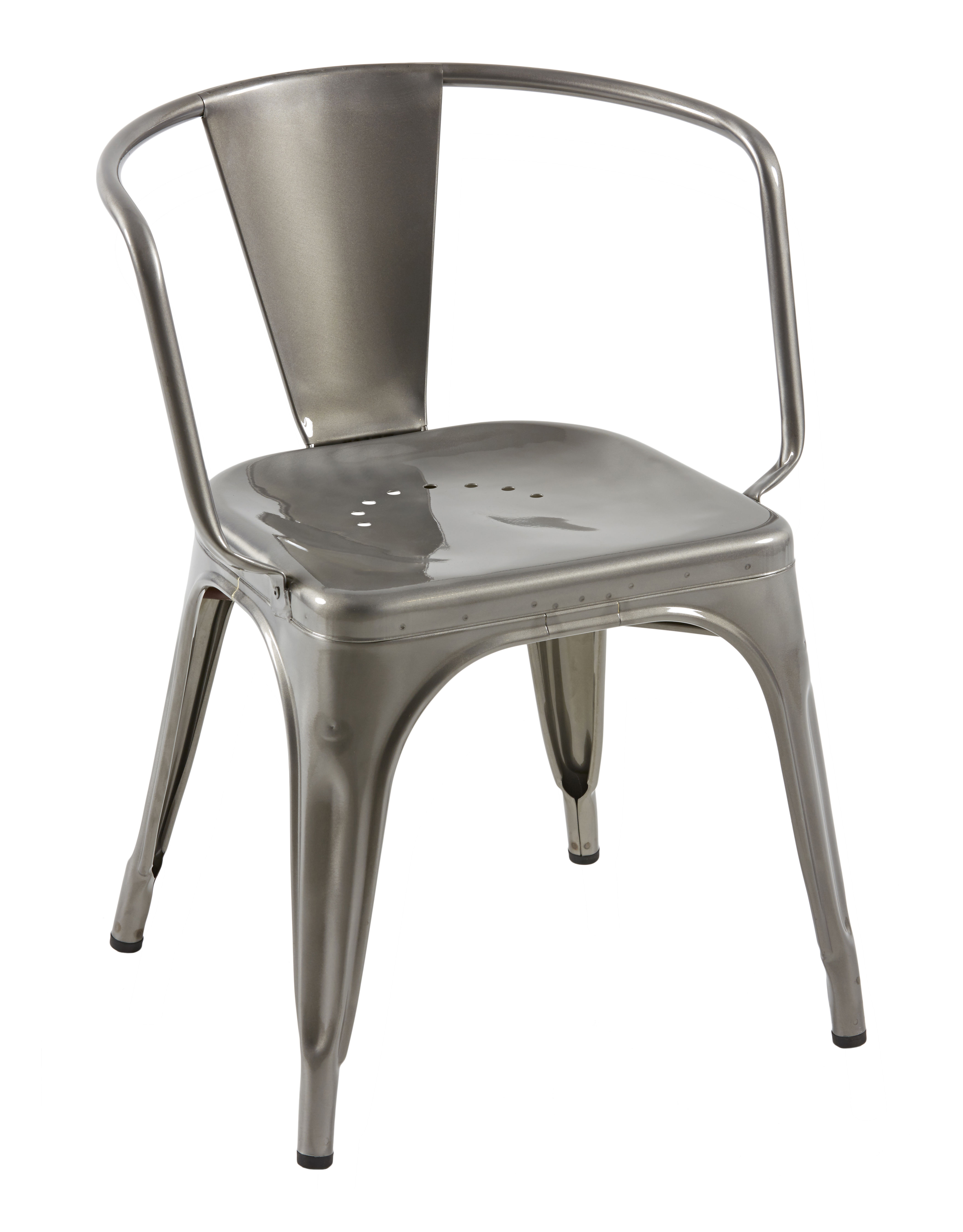Arredamento - Poltrone design  - Poltrona AC16 / Acciaio - Seduta large - Tolix - Acciaio grezzo brillante - Acciaio grezzo verniciato brillante riciclato
