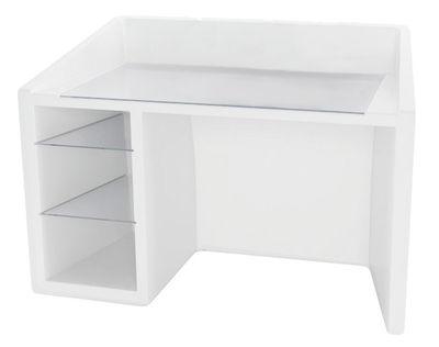Arredamento - Mobili da ufficio - Scrivania Kanal di Slide - Bianco - Polietilene riciclabile, Vetro
