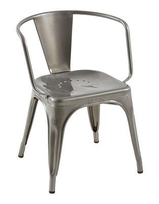 AC16 Sessel / Stahl - breite Sitzfläche - Tolix - Rohstahl glänzend