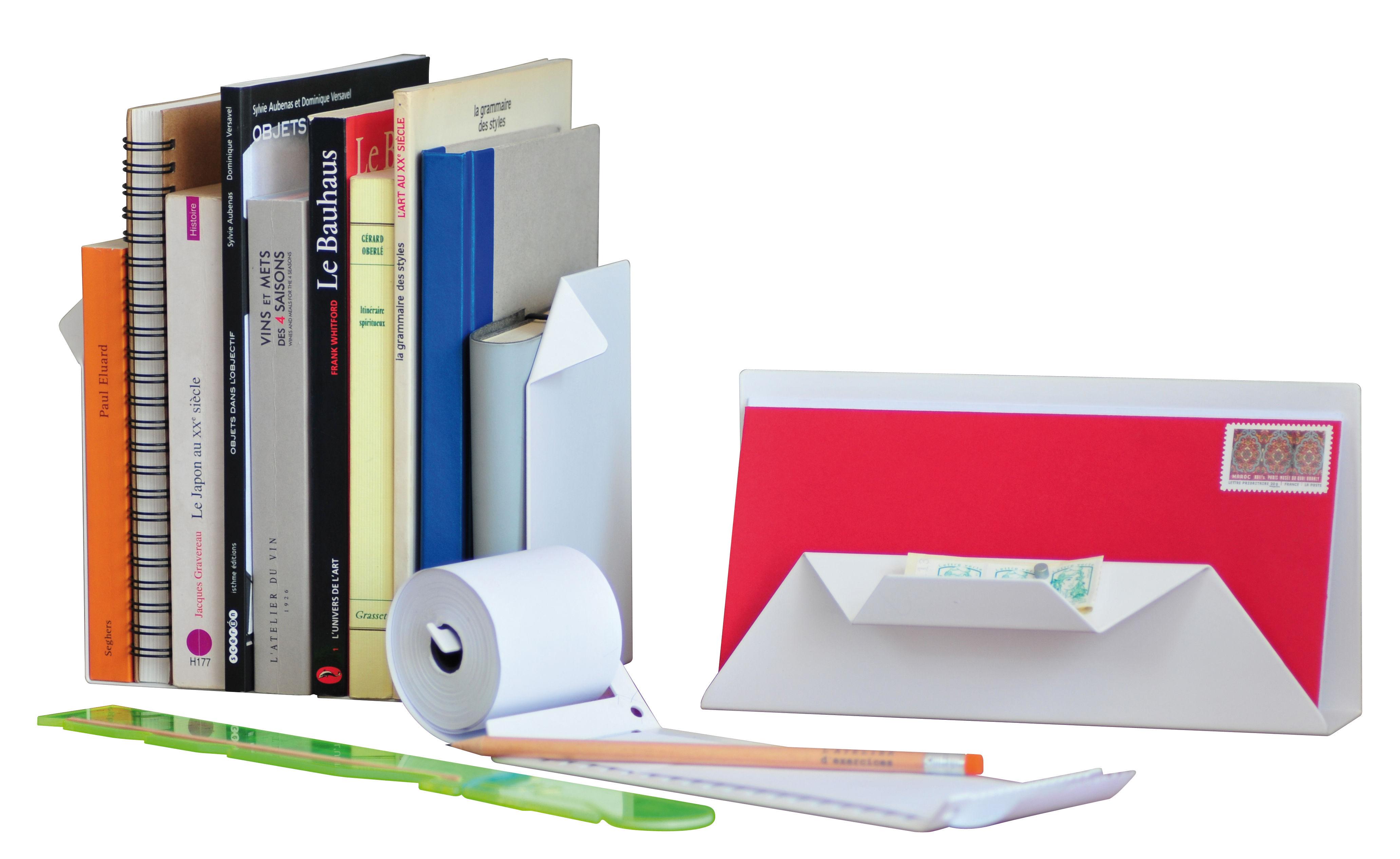 Accessori moda - Accessori ufficio - Set Office - / 5 accessori da scrivania di L'atelier d'exercices - Bianco / Righello giallo - Acciaio verniciato, Materiale plastico