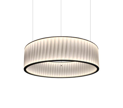 Illuminazione - Lampadari - Sospensione Ronde - / LED double flux - Ø 60 cm di Dix Heures Dix - Bianco - Inox, Tessuto