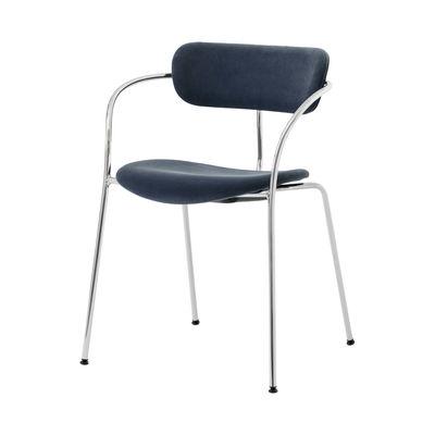 Furniture - Chairs - Pavilion AV13 Stackable armchair - / Velvet by &tradition - Midnight blue / Chromed - Chromed steel, Foam, Plywood, Velvet